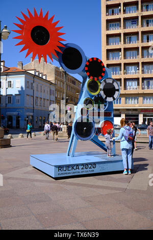 Rijeka, Croatia, Circa May 2019.  Sculpture display in the centre counting down time until city is 'European Capital of Culture' in 2020 - Stock Photo