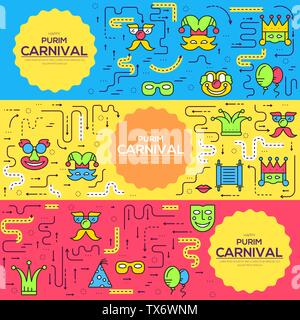 Celebration festival holiday party equipment thin lines icons set. Vector masquerade carnival collection design illustrations concept. - Stock Photo