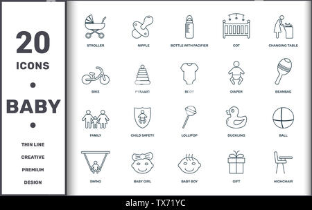 Baby Things icons set collection. Includes creative elements such as Stroller, Nipple, Bottle With Pacifier, Cot, Changing Table, Child Safety and Lol - Stock Photo