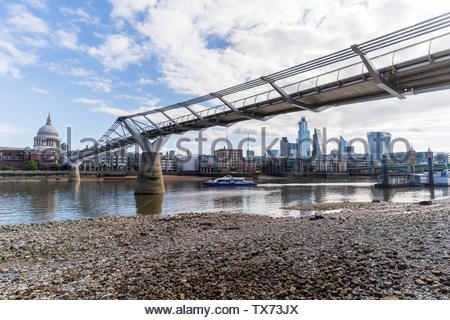 The Millenium Bridge, looking towards St Pauls, Central London - Stock Photo