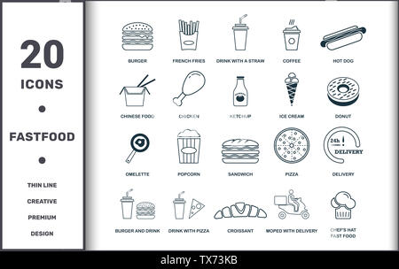 Fastfood icons thin line set collection. Includes creative elements such as Burger, French Fries, Drink With A Straw, Coffee, Hot Dog, Pizza and Sandw - Stock Photo