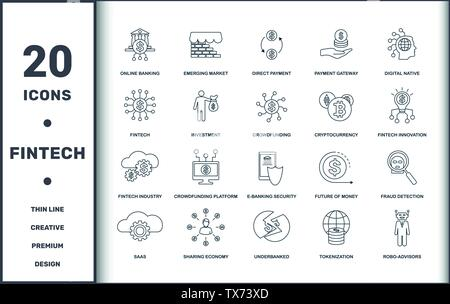 Fintech set icons collection. Includes simple elements such as Online Banking, Emerging Market, Direct Payment, Digital Native, Crowdfunding Platform - Stock Photo
