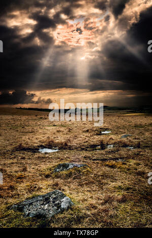 Bodmin moor after storm,dark sky sun breaking through on to granite stones and puddles on Bodmin moor, - Stock Photo