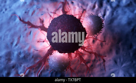 3d rendered medically accurate illustration of white blood cells attacking a cancer cell - Stock Photo