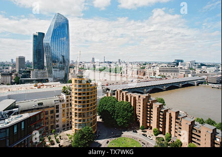 View of London from the Tate Modern, looking west towards One Blackfriars, Blackfriars Bridge and the River Thames - Stock Photo