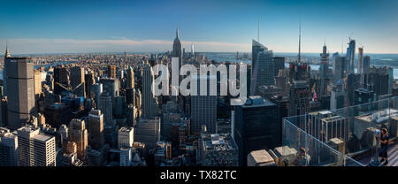 Panoramic View of Manhattan from the Top of the Rock Rockerfeller Center, New York, USA - Stock Photo
