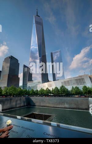 The One World Trade Center and Ground Zero Memorial, Manhattan, New York, USA - Stock Photo