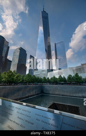 The One World Trade Center and Ground Zero Memorial, Manhattan, New York, USA - Stock Photo