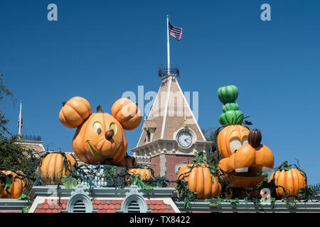 Mickey Mouse and Goofy Halloween Pumpkin Characters, Disneyland, Los Angeles, California, USA - Stock Photo