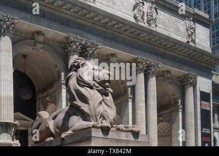 Entrance to the New York Public Library, Manhattan, New York, USA - Stock Photo