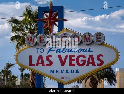 The famous Welcome to Fabulous Las Vegas sign, Las Vegas Boulevard, Las Vegas, Nevada, USA - Stock Photo