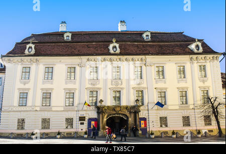 Sibiu Hermanstadt, Romania - 20.03.2019 - Brukenthal museum building in baroque architectural style located in Piata Mare or The Grand Square. Inside - Stock Photo