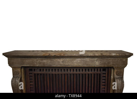 Antique marble and wooden shelf isolated on white background with free copy space for artwork design. Vintage wall shelf in Rocco architectural style - Stock Photo