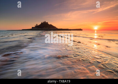 St Michael's Mount captured from the causeway. - Stock Photo