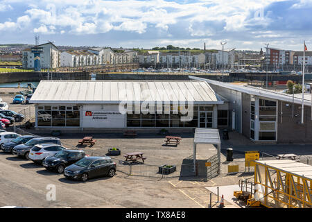 Caledonian MacBrayne ferry terminal at Ardrossan and is used as the terminal for the ferry to Brodick on Isle of Arran and Campbeltown on the Mull of - Stock Photo
