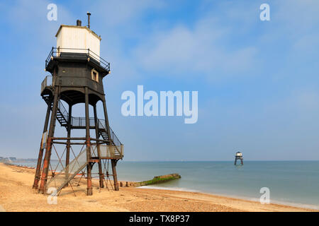 Dovercourt Lighthouses in Essex. - Stock Photo