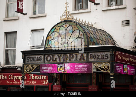 The stained glass canopy over the entrance to the 1920s Olympia Theatre on Dame Street in Dublin, Ireland. - Stock Photo