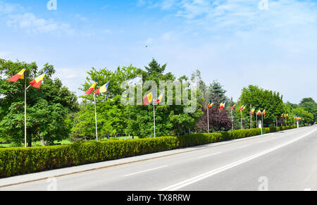 Many Romanian flags on the empty boulverd in a sunny summer day with bright blue sky and fresh green trees - Stock Photo