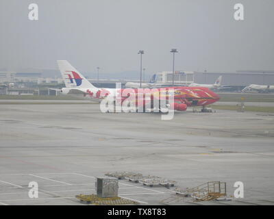 Malaysia Airlines Boeing 747-400 - 9M-MPD in special Hibiscus livery; 29 November 2006 (original upload date); Transferred from en.pedia to Commons by Common Good using CommonsHelper.; Andrew9M-MPD at English pedia; - Stock Photo