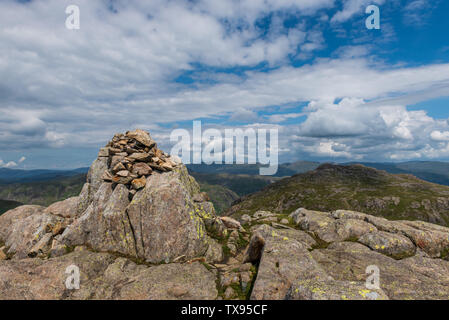 The Summit Cairn on Cold Pike in The Southern Fells of Cumbria