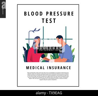 Medical tests template - blood pressure test - modern flat vector concept digital illustration of blood pressure measurement procedure - a patient and - Stock Photo