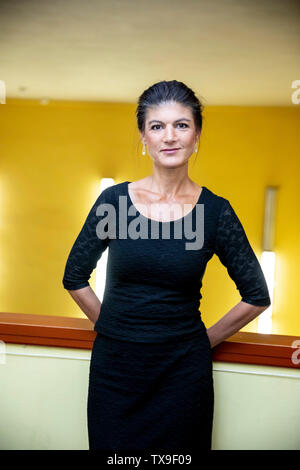 Berlin, Germany. 24th June, 2019. Sahra Wagenknecht, leader of the parliamentary group Die Linke, is about to meet fashion designer Wolfgang Joop with the headline 'Fashion meets Politics' at the cinema Babylon in Berlin-Mitte. Credit: Christoph Soeder/dpa/Alamy Live News - Stock Photo