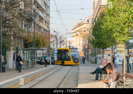 Budapest, NOV 10: Morning view of a metro train in downtown on NOV 10, 2018 at Budapest, Hungary - Stock Photo
