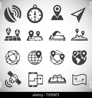 Geolocation related icons set on background for graphic and web design. Simple illustration. Internet concept symbol for website button or mobile app. - Stock Photo
