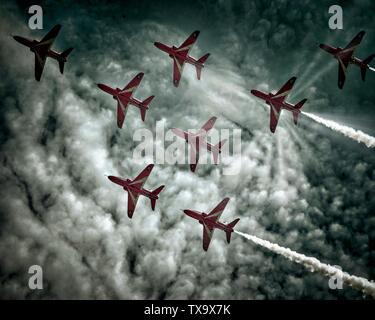 GB - DEVON: RAF Red Arrows Display Team at Torbay Airshow (01 June 2019) - Stock Photo