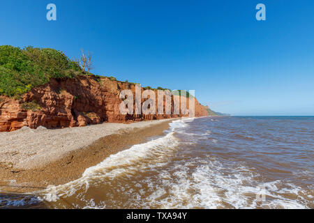 View of Salcombe Hill and cliffs looking east from Sidmouth, a small popular south coast seaside town in Devon, south-west England - Stock Photo