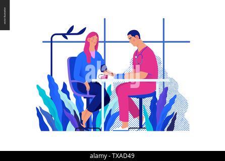 Medical tests Blue - blood pressure test - modern flat vector concept digital illustration of blood pressure measurement procedure - a patient and doc - Stock Photo