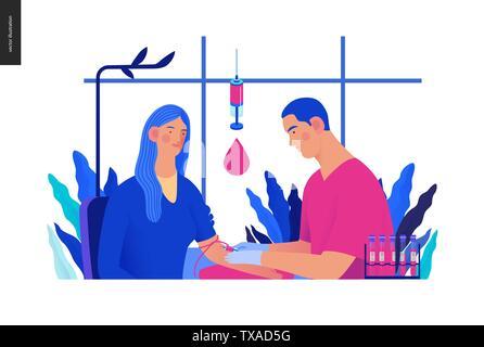 Medical tests Blue illustration - blood test - modern flat vector concept digital illustration of blood test procedure - patient and doctor with syrin - Stock Photo