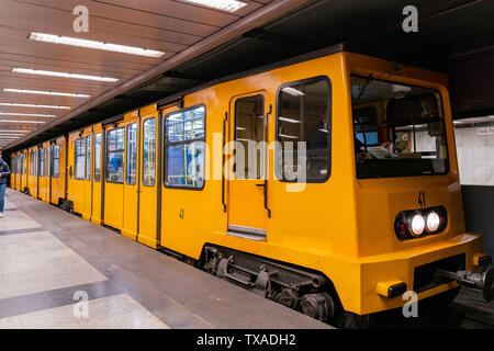 Budapest, NOV 10: Metro train in downtown station on NOV 10, 2018 at Budapest, Hungary - Stock Photo