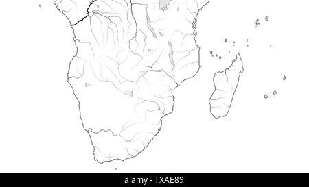 World Map of AFRICA COASTLINE and MADAGASCAR: South Africa, Rhodesia, Namibia, Kenya, Tanzania, Zanzibar, Zambezi, Zimbabwe, Madagascar. (Chart). - Stock Photo