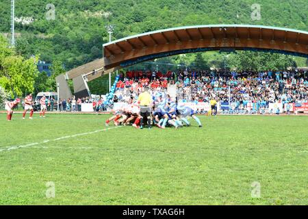 Lecco/Italy - May 24, 2015: Start of the rugby match between Rugby Lecco and ASD Rugby Casale on the sports field Bione of Lecco. - Stock Photo