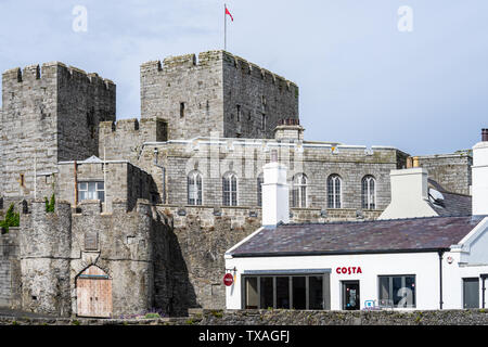 Castletown,Isle of Man, June 16, 2019. Castle Rushen is a medieval castle located in the Isle of Man's historic capital, Castletown, in the south of - Stock Photo