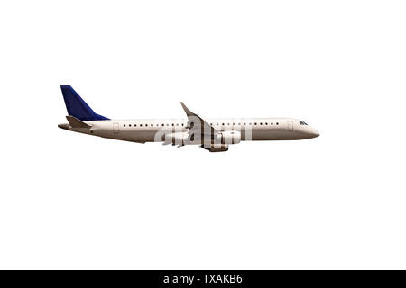 White passenger commercial DAEBC plane side view in flight isolated on white. The aircraft flies airplane  - Image - Stock Photo