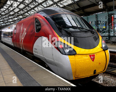 British Rail Class 390 Pendolino train at Liverpool Lime Street Railway Station, Liverpool, England, UK - Stock Photo