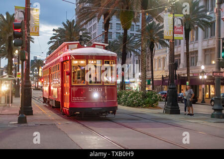 New Orleans, Louisiana - A New Orleans streetcar on Canal Street. - Stock Photo