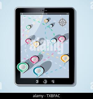 App Navigation in modern flat screen gadget - Stock Photo