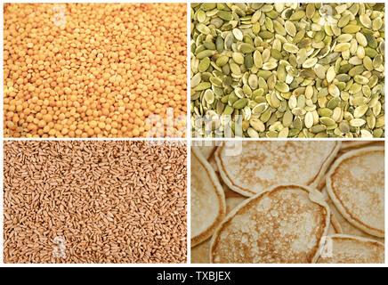 Set of food background texture: pumpkin seeds, quinoa, pancakes - Stock Photo