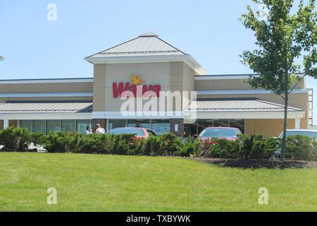 Princeton New Jersey - June 23, 2019:A Wawa convenience store, Wawa Inc.is a chain of convenience store/gas stations along the East Coast - Stock Photo