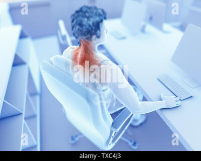 3d rendered illustration of a man working on a pc - painful muscles - Stock Photo