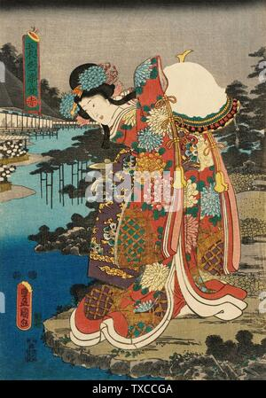 'Red; English:  Japan, circa 1847-1852 Alternate Title: Aka Series: Costumes in Five Different Colors Prints; woodcuts Polychrome woodblock print Image: 14 5/16 x 10 1/16 in. (36.4 x 25.5 cm);  Paper: 14 1/2 x 10 1/8 in. (36.8 x 25.8 cm) Gift of R. B. and Meryl Bonney (M.86.326.5) Japanese Art; between circa 1847 and circa 1852 date QS:P571,+1850-00-00T00:00:00Z/7,P1319,+1847-00-00T00:00:00Z/9,P1326,+1852-00-00T00:00:00Z/9,P1480,Q5727902; ' - Stock Photo