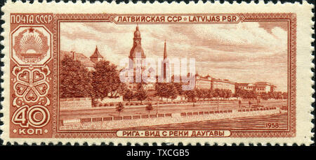 'English: Postage stamp issued by the Soviet Union 1958 depicting view of Riga, Latvia.; 14 November 2009; Scan of postage stamp from own collection; Public domainPublic domainfalsefalse      This work has been released into the public domain by its author, Philaweb. This applies worldwide. In some countries this may not be legally possible; if so: Philaweb grants anyone the right to use this work for any purpose, without any conditions, unless such conditions are required by law.; ' - Stock Photo