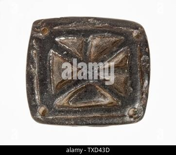 'Stamp Seal, Tabloid (image 2 of 2); Tools and Equipment; seals Black serpentine Height:  7/16 in. (1 cm); Width:  1 5/16 in. (3.3 cm); Length:  1 1/2 in. (3.7 cm) Gift of Nasli M. Heeramaneck (M.76.174.572) Art of the Ancient Near East; circa 2nd millennium B.C.; ' - Stock Photo