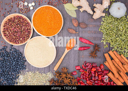 All kinds of seasonings, Chinese seasonings, high angle overhead shot - Stock Photo