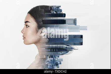 Double exposure of young woman profile with metropolis, white background - Stock Photo