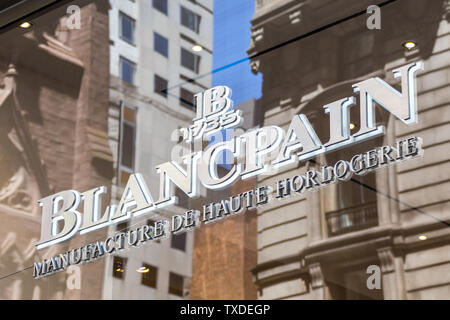 NEW YORK, USA - MAY 15, 2019: Blancpain store on 5th Ave in New York City. Blancpain designs, manufactures, distributes, and sells prestige and luxury - Stock Photo