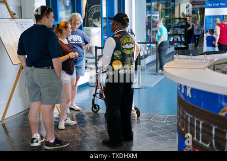 Submarine Force Museum, Groton CT USA, Jun 2019. Focused decorated vest on this proud African American veteran welcoming visitors young and old. - Stock Photo
